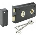 "70mm Rim Sash Lock Black Face Fix Locking (HDRL) 5 1/2"" x 3"""